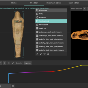 visualizing CT scan data of a mummy in the Inside Explorer Pro software
