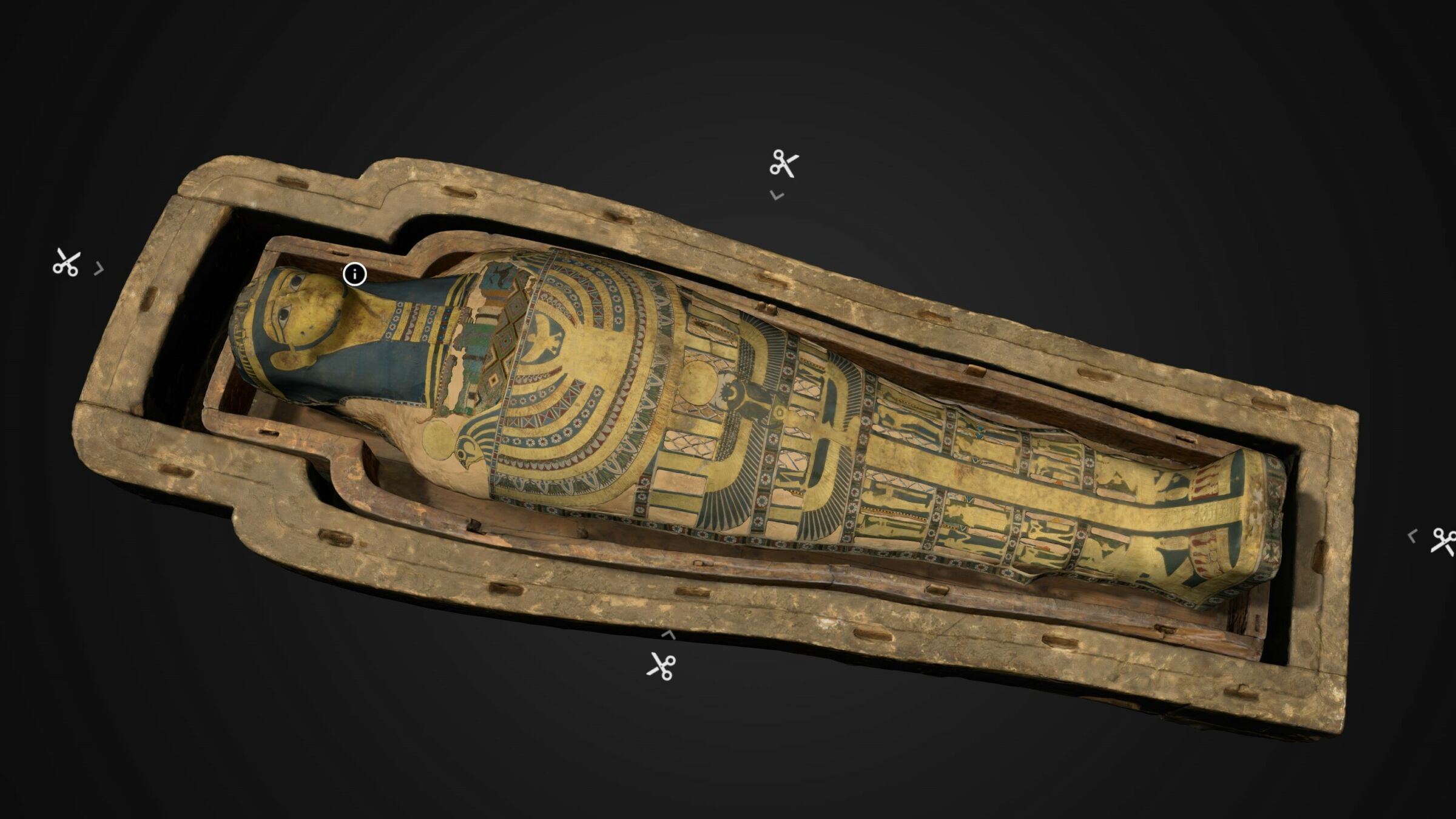The digital unwrapping of ancient mummy named Neswaui in Inside Explorer